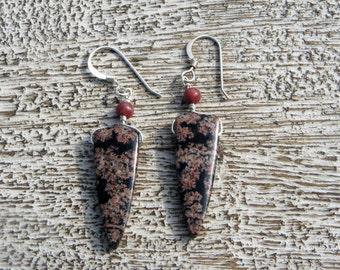 SNOWFLAKE OBSIDIAN EARRINGS. Jasper accent. S.S.   nugget gemstone/ slab/Triangular/Arrowhead/ natural/ earthy/pink/ black/boho/ rustic