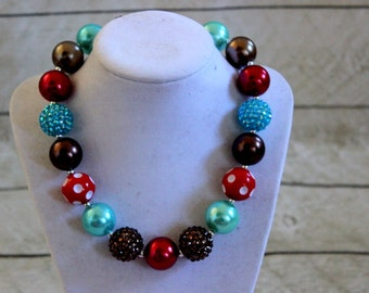 Fall chunky bubblegum necklace in red turquoise, chocolate brown. Girls necklace for rodeo cowgirl birthday. Beaded long necklace.
