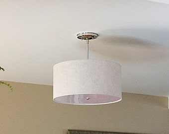 semi flush drum shade fixture ceiling light large drum shade - Drum Shade