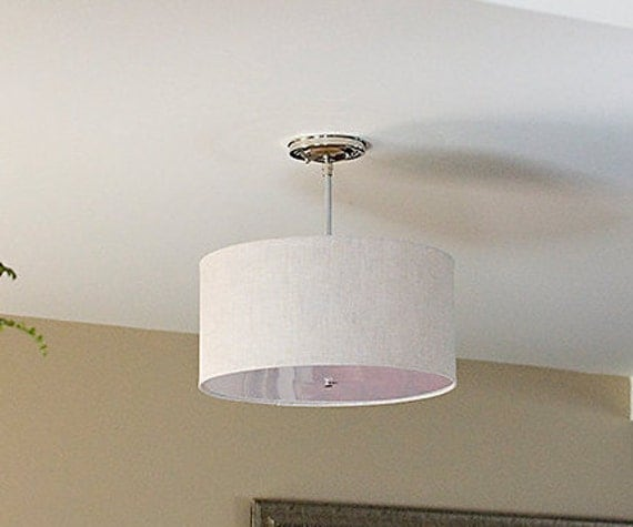 semi flush drum shade fixture ceiling light large drum shade. Black Bedroom Furniture Sets. Home Design Ideas