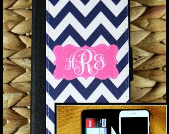 Monogrammed Phone Wallet Case for iPhone 7 7 Plus 5 6 6+ 6 Plus Samsung Galaxy 3 4 and 5 S3 S4 S5 Cell Phone Accessories Custom Personalized