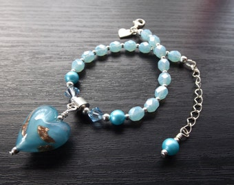 Blue Czech Glass Bracelet