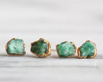 emerald earrings / emerald studs / raw emerald / rough emerald / natural emerald / gold emerald studs / emerald jewelry / green stone studs