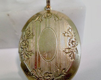 Etched Classic Locket Pendant Brass Vintage Floral Can Be Monogrammed