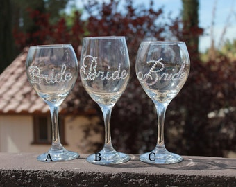 SALE!!! Swarovski crystal BRIDE wine glass. Bridal showers, weddings, bachelorette parties. Ready to Ship!