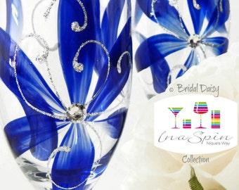 7 Bridesmaid Gifts Australian Bridal Party Gift Sapphire Blue Wedding Glasses Sapphire Bridesmaids Gifts Bridal Party Gifts Bridal Daisy