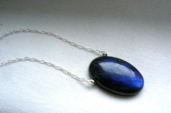 Blue flash Labradorite pendant- Labradorite sterling silver necklace- Boho gemstone pendant-Fashion natural stone pendant-Women jewelry gift