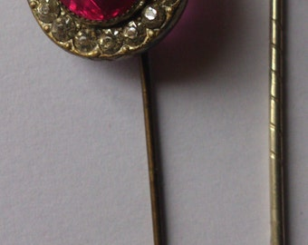 two vintage diamante stickpins