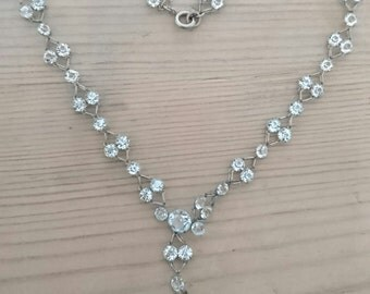 Vintage delicate faceted glass necklace