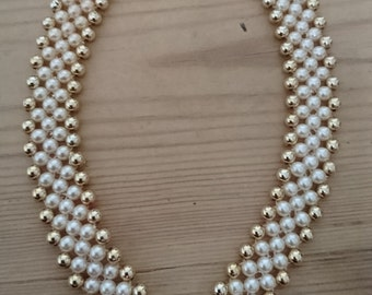 Vintage Pearl and gold bead necklace