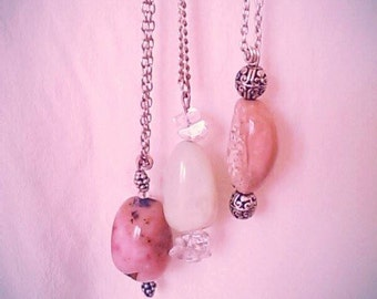 Pink Jasper solitary pendant with silver finishing (with or without sterling silver chain)