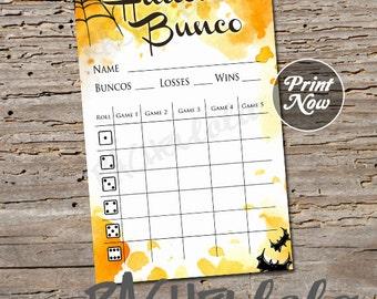 Halloween, spiderweb Bunco score card, instant download