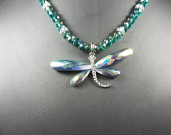 Turquios AB Crystal Dragonfly Necklace