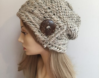 Chunky knit hat, cabled knit hat, oatmeal knit hat, slouchy knit tam, oatmeal hat, button hat, cabled tam, chunky hat, knit hat with button
