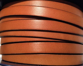 """Pre Cut 7"""" Peruvian Brown 10mm Flat leather for flat leather bracelets,"""