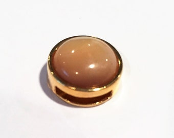 10mm Flat Leather cord slider, Gold Mother of Pearl, Natural, bracelet finding, jewelry supplies