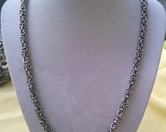 Stainless Steel Byzantine Chain Maille Necklace