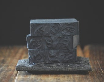 Eucalyptus + Lavender Soap | All Natural Activated Bamboo Charcoal Soap, Essential Oil Cold Process Soap, Detox Handmade Facial Vegan Bar