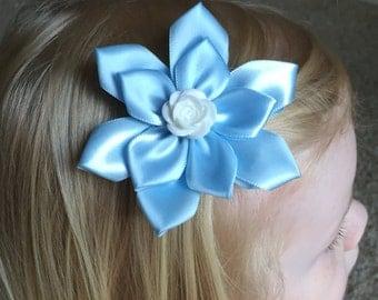Girls Blue Hair Clip, Hair Bow, Child's, Girl's, Kanzashi