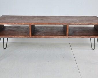 Mid Century Table   Mid Century Modern Style Box Coffee Table With Hairpin  Legs   Custom