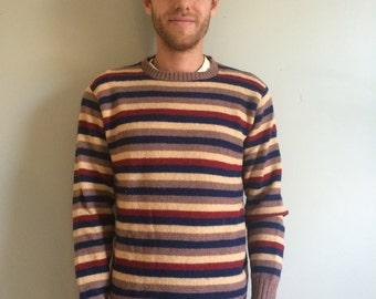 Vintage 80s Wool Striped Sweater