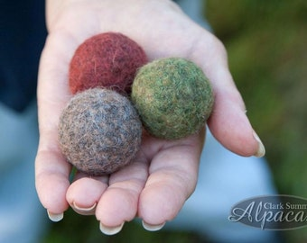 Felted Cat Balls Kitty Toy Natural Alpaca Wool Bell felted inside green burgendy grey fawn eco friendly