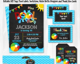 Pool Party Invitations - Pool Party - Swim Party - Pool Birthday Invitations - Pool Thank You Cards - Instant Download - Edit NOW!