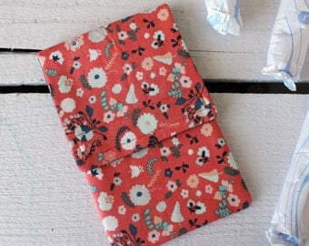 Tampon Holder, Pad/Pantiliner Case For Your Purse in Bullion Fronds Rose Fabric by Katarina Roccella for Art Gallery