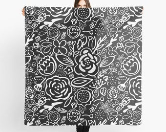 Black and White Flowers Scarf - A Profusion of Flowers III - Sheer Fashion Scarf