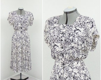 Vintage 80s Liz Claiborne Black and White Dress, Floral Dress, Blouson Dress, Midi Dress, Cap Sleeve Dress, Full Skirt Dress, Spring Dress