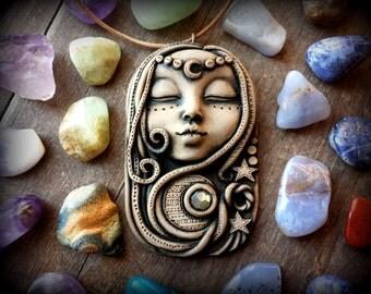 Moon goddess necklace, night moon and stars, clay goddess necklace, galaxy pendant, goddess diana cameo, renaissance faire costume jewelry
