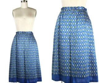 1970s Bright Indian Silk Skirt / Electric Blue and  Lime Green Skirt / Woven Silk A-Line Skirt