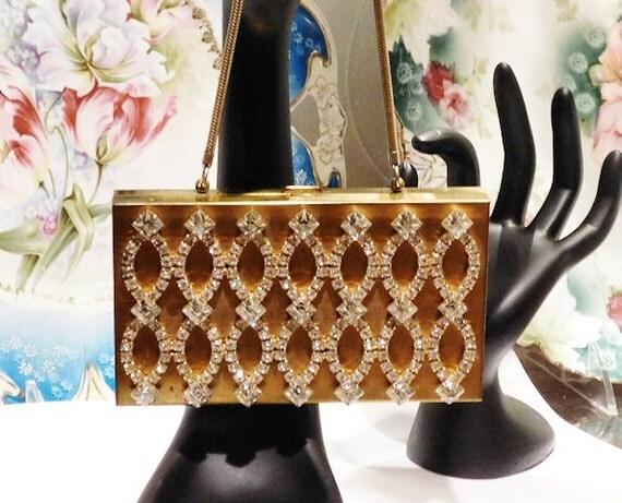 Mid Century 1950s 50s Rhinestone Jeweled Purse Evening Carry All Minaudiere Clutch Hard Case Purse Hollywood Regency Handbag Bag Wedding
