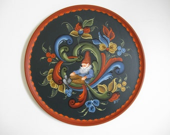 Norwegian Rosemaling with a Nisse on a 12 inch plate