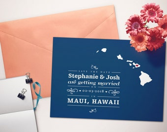 Hawaii Save the Date Wedding Postcard