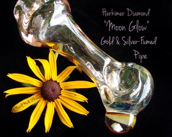 "Herkimer Diamond ""Moon Glow"" Gold & Silver-Fumed Pipe"