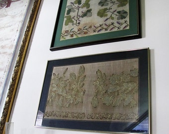 Free Shipping/Antique Hand Made Embroidery on Silk whit Brass Frame 100 years old