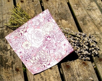 Handstitched Liberty of London Pink Roses Cotton Pocket Square/Handkerchief