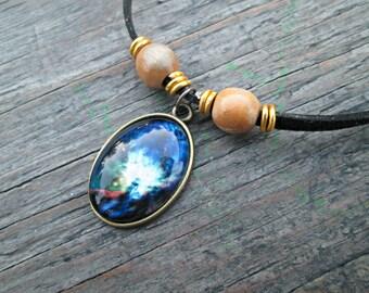 Blue Universe Necklace, Boho Nebula Necklace, Galaxy Pendant, Glass Dome Jewelry, Galaxy Photo Necklace, Bohemian Galaxy Jewelry