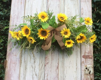 Sunflower Swag,Horizontal sunflower Swag, Summer Swag, Kitchen Wreath, Over  Door swag, swag for over a mirror, sunflower swag for Kitchen