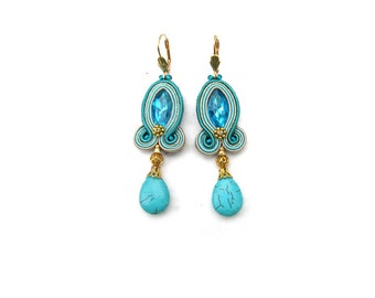 Turquoise Dangle Earrings - Drop Soutache Earrings , Turquoise Gold Green Earrings , Handmade Earrings with Gems , Fashion Soutache Jewelry