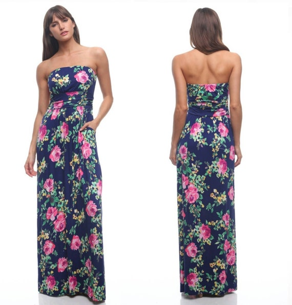 Summer Floral Maxi Dress Spring Colors Available in S M and L