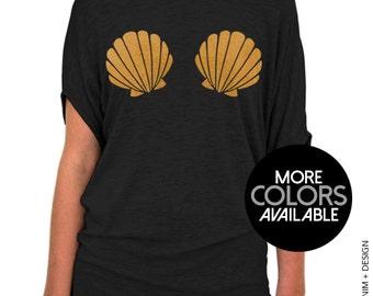 Mermaid Seashells - Black Slouchy Tee Shirt (Small - Plus Sizes) - Mermaid Shell Bra - Gold Pink Purple Ink Available