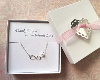 Thank You Mom for your Infinite Love, Infinity Necklace, Pearl, Wedding, Mother, Gift, Gift Box, LIJ13013-4/ LIJ 13039-4