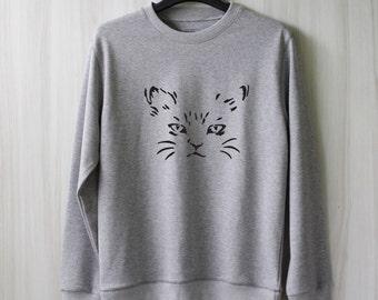 Cat Sweatshirt Meow Kitten Sweater Shirt – Size XS S M L XL
