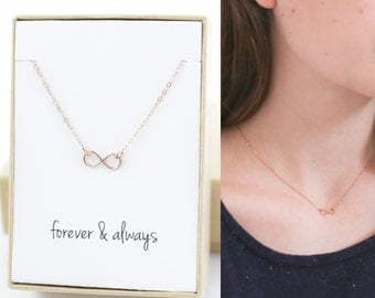 Rose Gold Infinity Necklace - Mothers Day Gift - Girlfriend Gift - Engagement Gift - Anniversary Gift - Tiny, Dainty, Delicate, Minimal