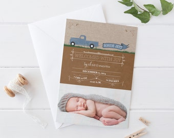 Baby Boy Birth Announcements - Rustic Truck Baby Announcement Cards - Printable or Printed New Baby Announcement