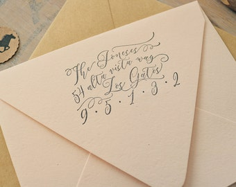 Custom Address Stamp - Romantic Calligraphy Style Return Address Stamp - Joneses