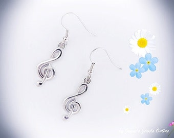 Music Note Earrings, Treble Clef earrings, Music Jewellery, Matching Necklace available, ,