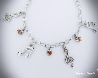 Music Note Charm Bracelet, Quaver, Semiquaver, Champagne drops, music bracelet for girls who LOVE music